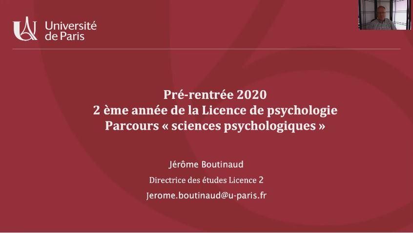 Présentation de pré-rentrée L2 de Psychologie