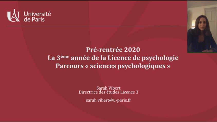 Présentation de pré-rentrée L3 de Psychologie