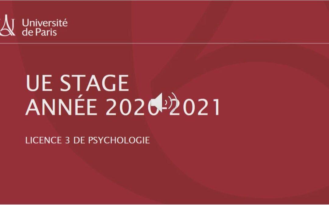 Présentation de pré-rentrée de l'UE Stage L3 de Psychologie