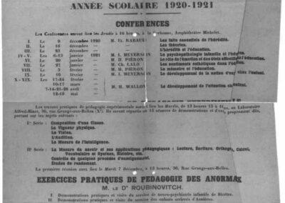 Institut de Psychologie- section pédagogie 1920