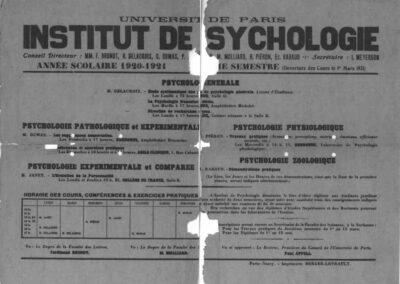 Institut de Psychologie - Année scolaire 1920-21