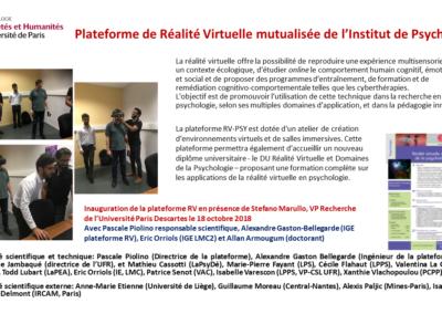 Plateforme Réalité virtuelle Institut de Psychologie